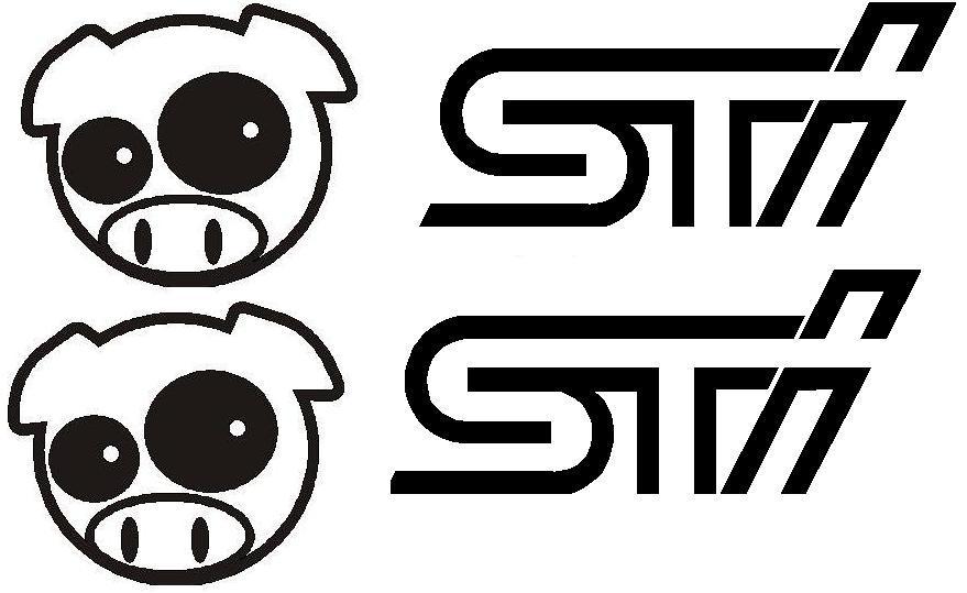 subaru sti  u0026 pig stickers   2  sti  u0026  1  pig decals