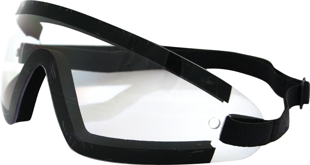SUNGLASSES WRAP AROUND BLACK W/CLEAR LENS