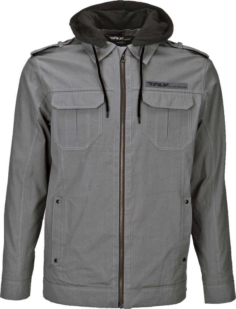 WAXED JACKET W/HOOD GREY X