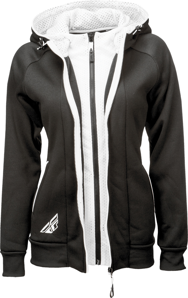 TRACK LADIES ZIP UP HOODIE BLACK/WHITE L