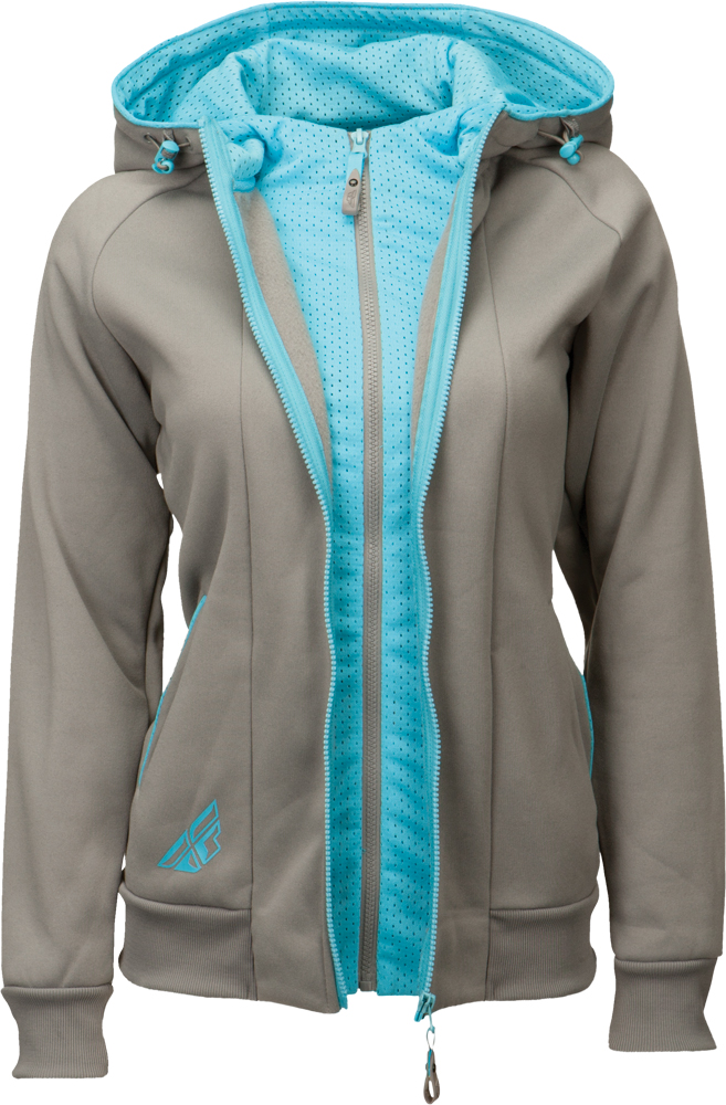 TRACK LADIES ZIP UP HOODIE GREY/BLUE 2X