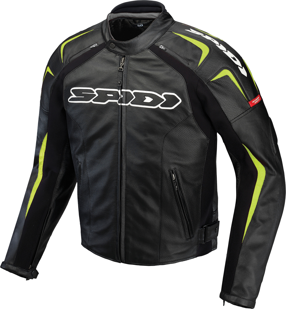 TRACK LEATHER JACKET BLACK/GREEN E54/US44