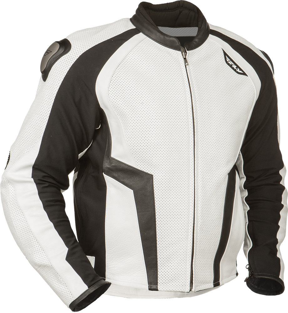 APEX LEATHER JACKET WHITE/BLACK SZ 38