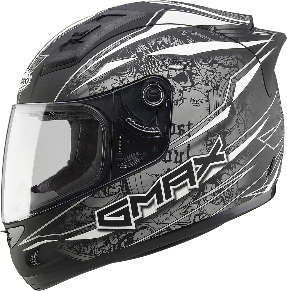 GM69 FULL FACE MAYHEM HELMET MATTE BLACK/SILVER/WHITE 3X