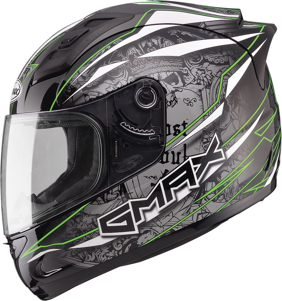 GM69 FULL FACE MAYHEM HELMET BLACK/SILVER/HI-VIS GREEN X