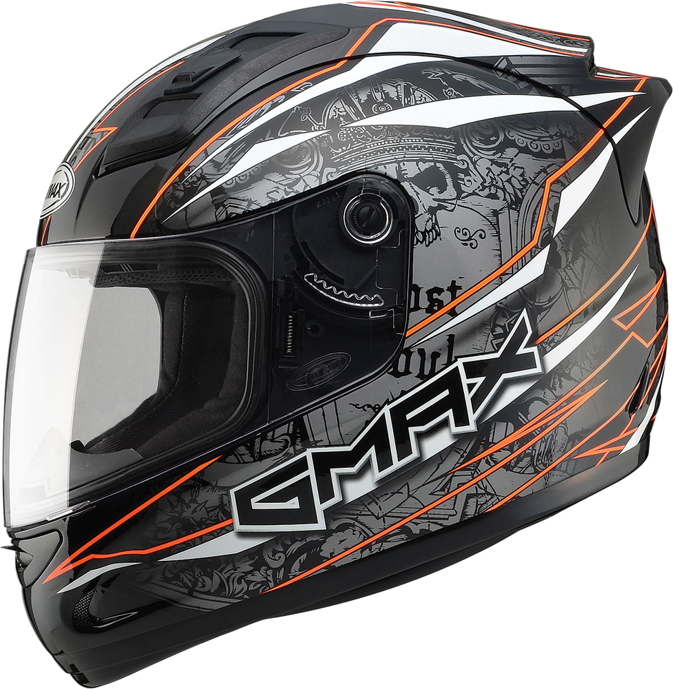 GM69 FULL FACE MAYHEM HELMET BLACK/SILVER/HI-VIS ORANGE 2X