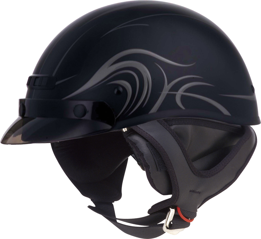 GM35 HALF HELMET - DRESSED DERK FLAT BLACK 2X