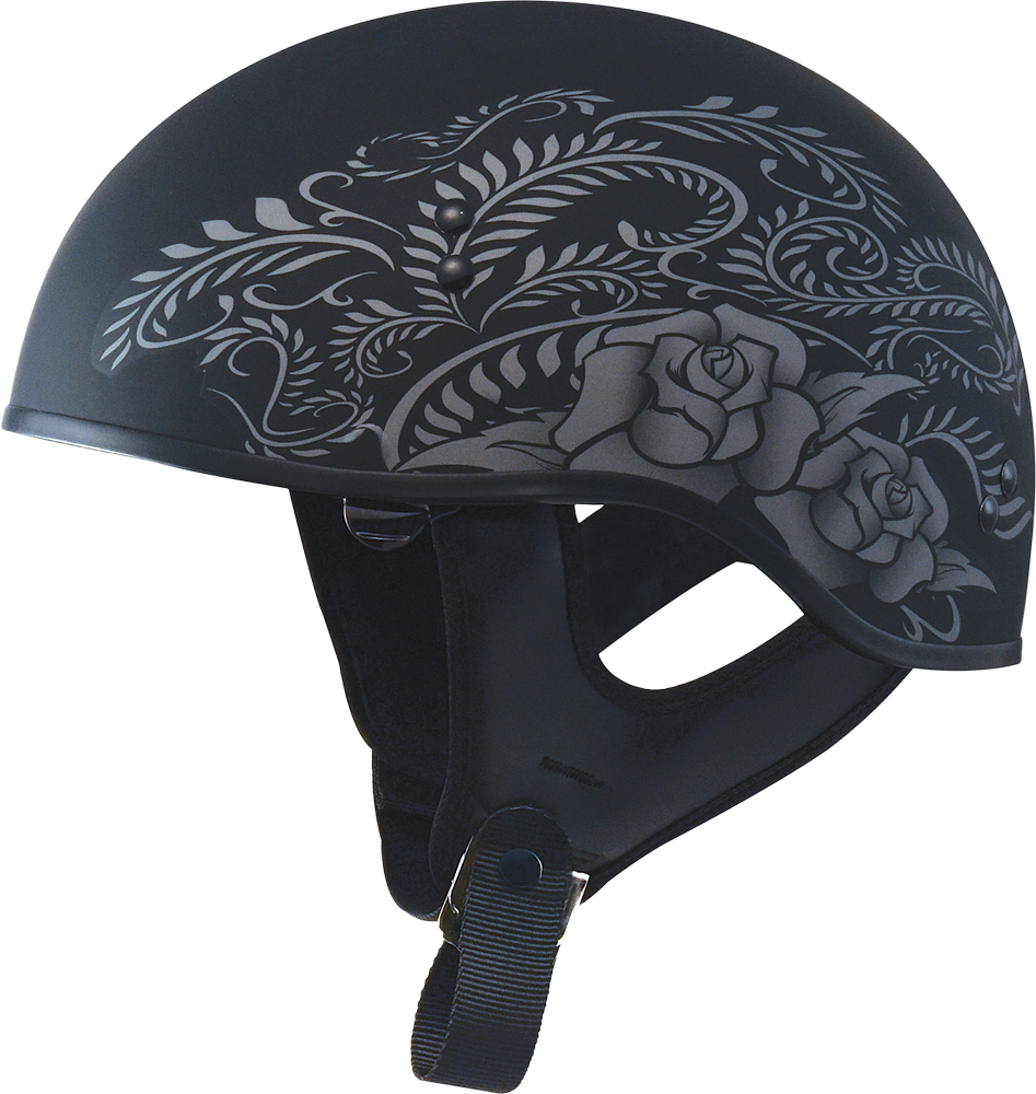GM65 NAKED HALF HELMET ROSE FLAT BLACK/SILVER X