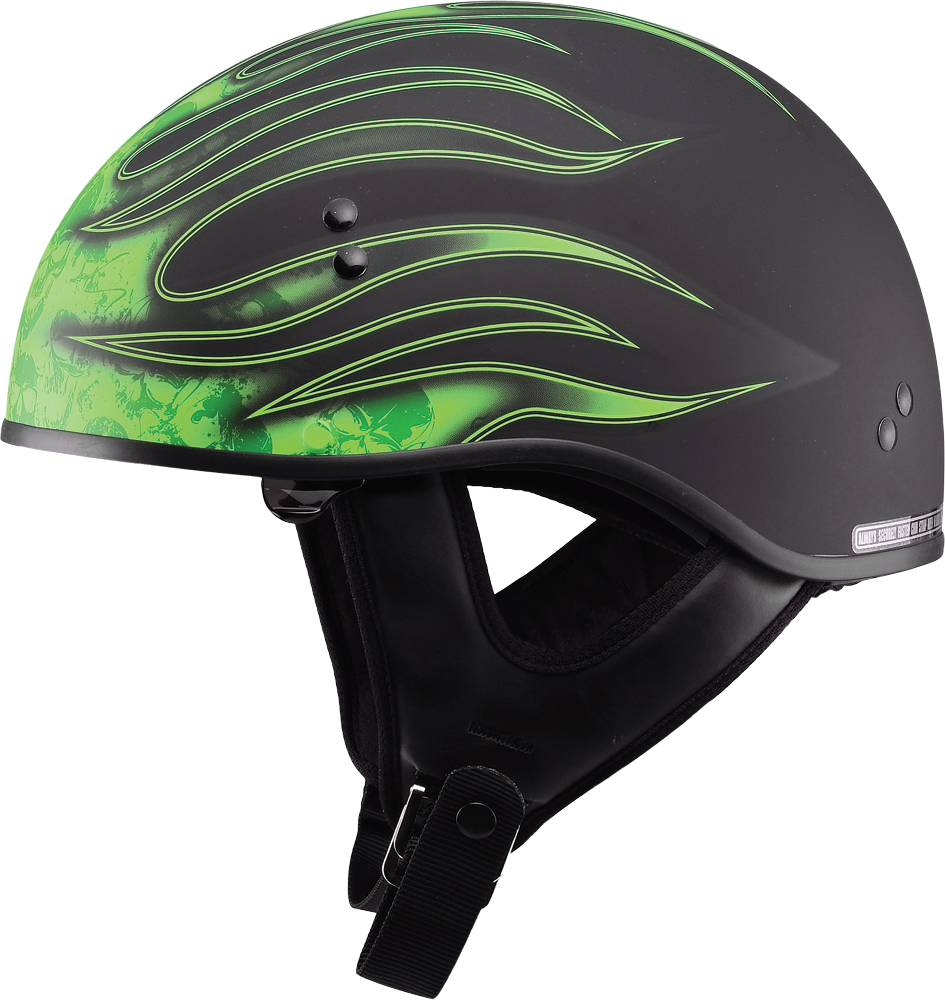 GM65 FLAME HALF HELMET FLAT BLACK/GREEN 2X