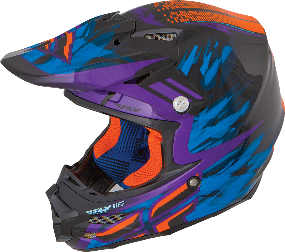 F2 CARBON SHORTY HELMET BLACK/PURPLE/ORANGE 2X